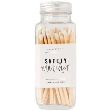 White Safety Matches - Glass Jar