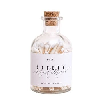 White Small Safety Matches - Apothecary Jar