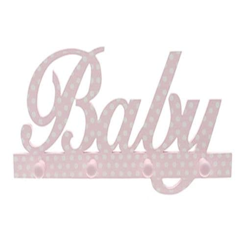 'Baby Girl Hanger' in Pink with White Polka Dots