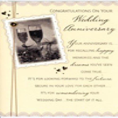 'Congratulations on your wedding anniversary' Card by Hambledon Studios