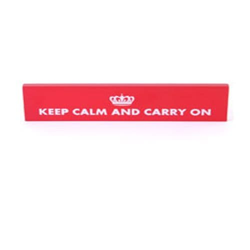 'Keep Calm and Carry On' red wooden hanging sign