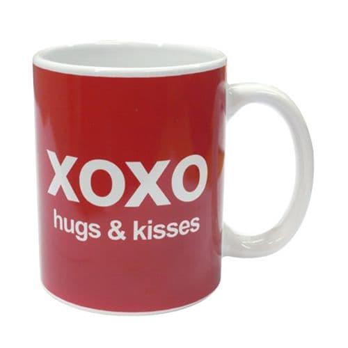 'XOXO' Red Hugs & Kisses Text Mug