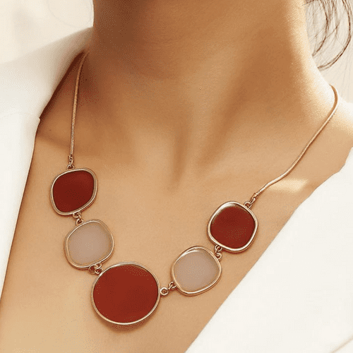 Bib Style Necklace on a Gold Tone Chain