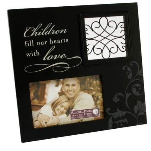 Black Children Photo Frame, with a verse saying 'Children fill our hearts with Love'
