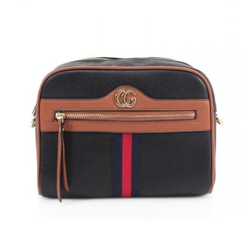 Black Crossbody Bag with Navy and Red Stripes