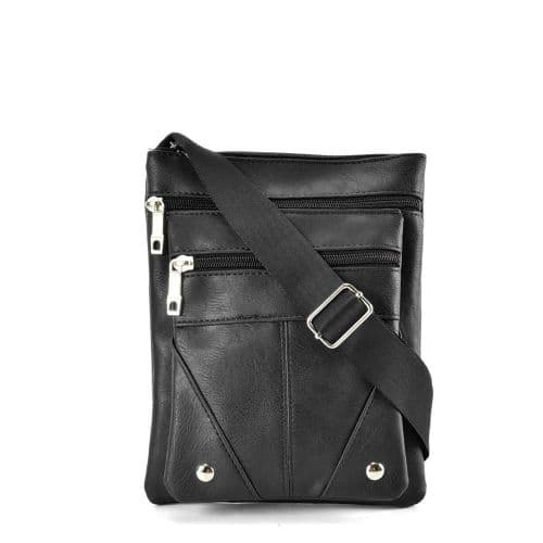 Black Crossbody Handbag with Zip Detail