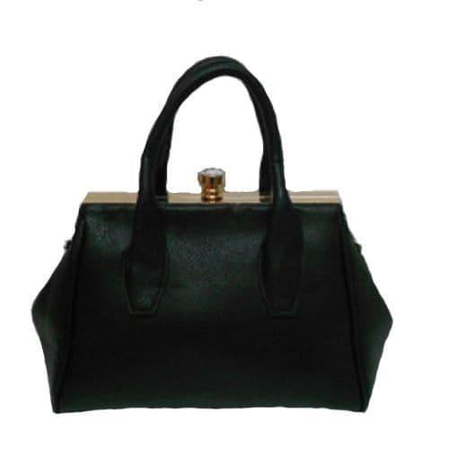 Black Grab Handbag with crystal clasp