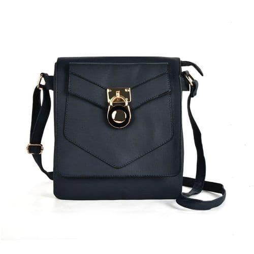 Black Lock Detail Boxy Crossbody Handbag