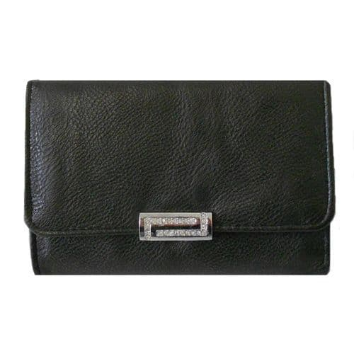 Black Purse with Crystal Lock Detail