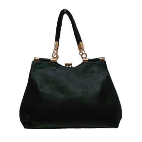 Black Shoulder Handbag with Gold Trim
