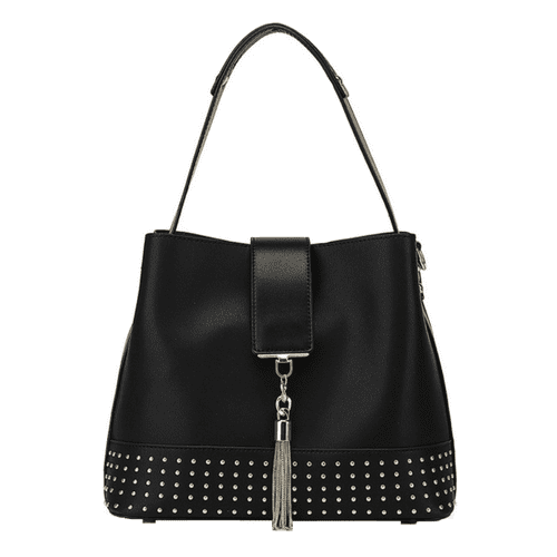 Black Slouch Handbag With Gold Studded Detail