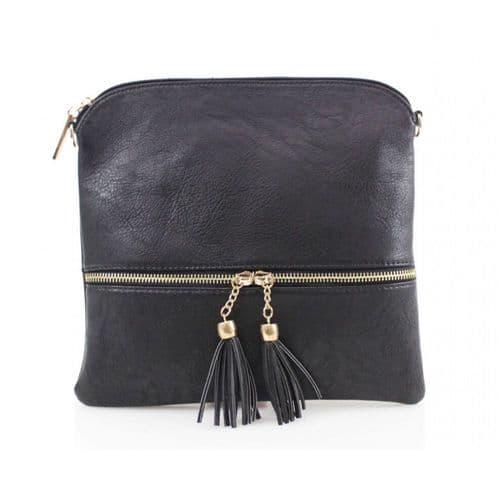 Black Tassel Crossbody Handbag