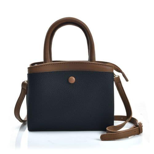 Black with Contrasting Coloured Crossbody Handbag with Button Design