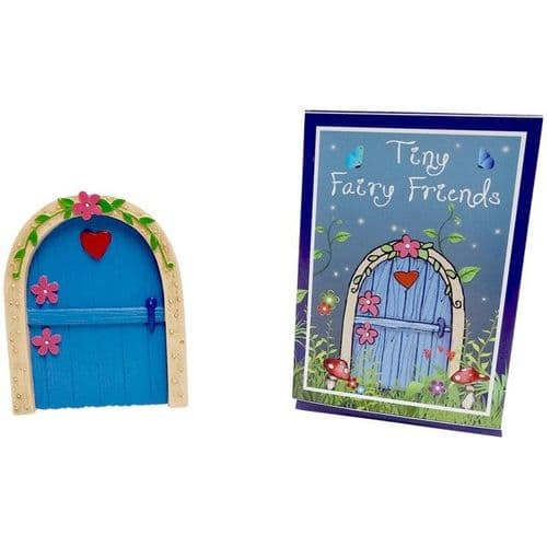 Blue Fairy Door with a Red Heart and Pink Flowers