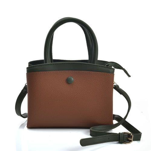 Brown Contrasting Coloured Crossbody Handbag with Button Design