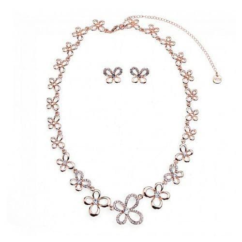 Butterfly Shape Diamante Necklace & Earring Set