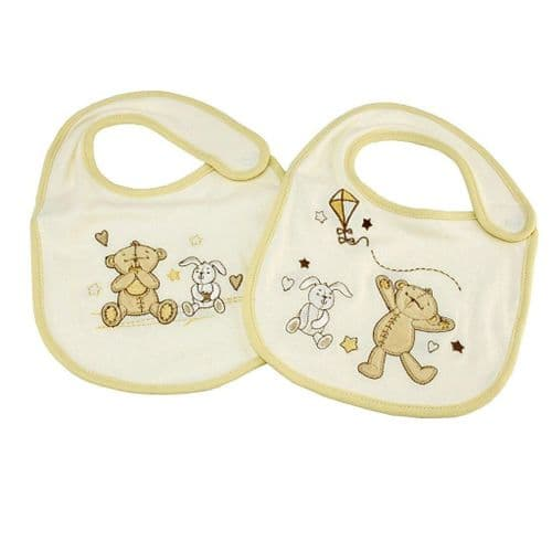 Button Corner Embroidered Bib Set, Set includes two bibs