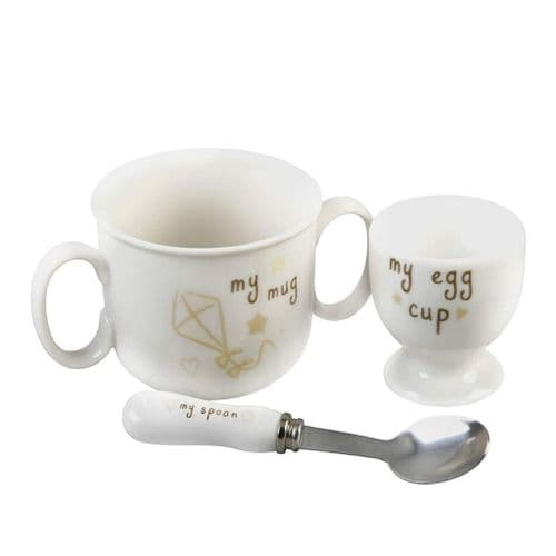Button Corner Little Ceramic Baby Set included is an Egg Cup, Mug and Spoon