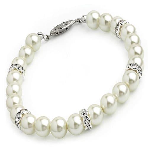 Cream & Pearl Colour Glass Bead Crystal Bracelet