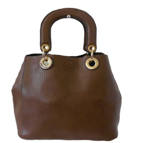 Dark Brown Satchel Style Handbag