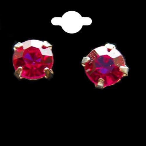 Deep Pink Crystal Stud Earrings