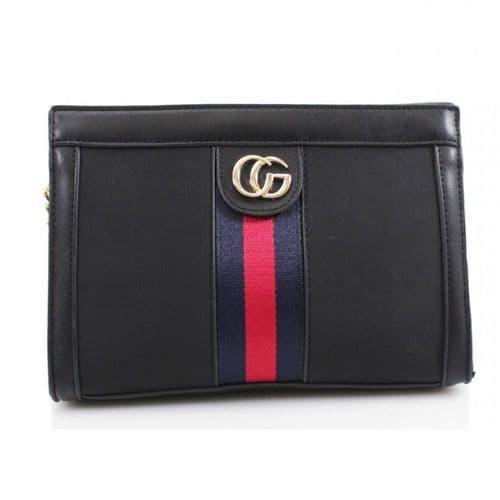 Designer Inspired Black Shoulder Bag