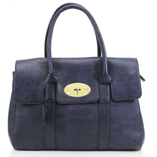 Designer Inspired Navy Shoulder Bag