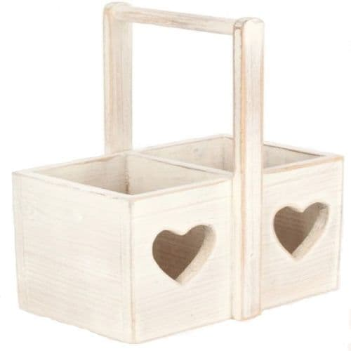Double Wooden bottle holder with upright handle and cut out heart detail