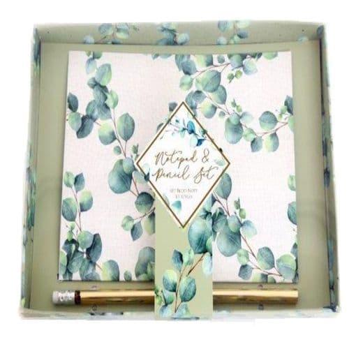 Eucalyptus Notepad & Pencil Gift Set