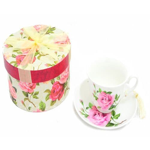 Fine China Cup & Saucer Set with a rose and bud pattern