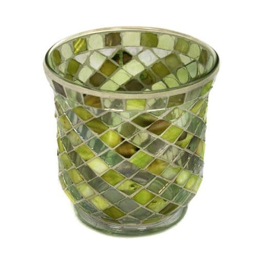 Glass Mosaic hurricane lamp in lime green