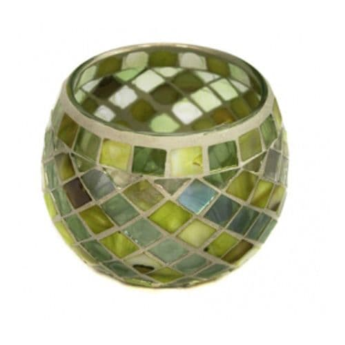 Glass Mosaic Tea Light Holder In Lime Green