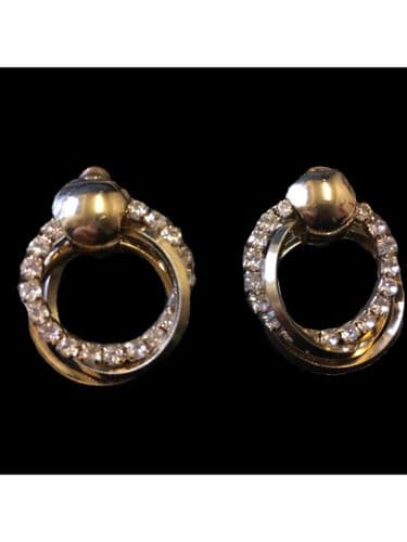 Gold colour and Crystal Hoop Entwined Earrings