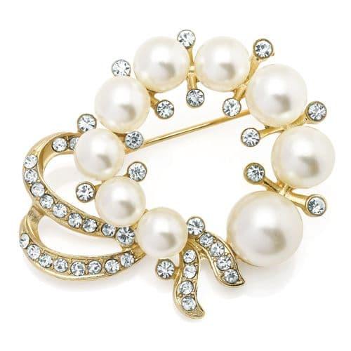 Gold Colour Crystal & Cream Pearl Colour Brooch