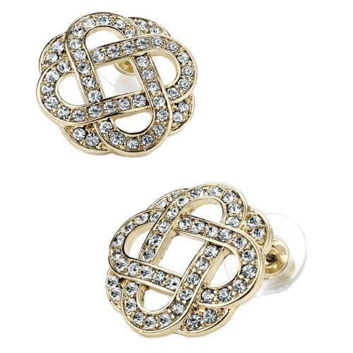 Gold Colour Crystal Entwined Square Design Earrings
