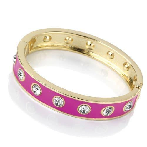 Gold Colour Crystal Pink Enamel Hinged Bangle