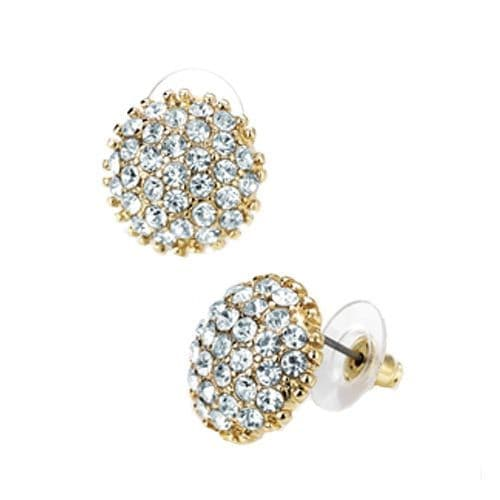 Gold Colour Crystal Round Stud Earrings