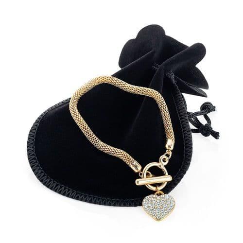 Gold Coloured Heart Chain Bracelet