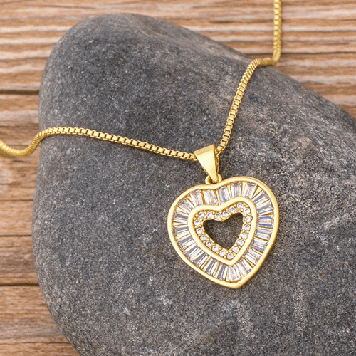 Gold Tone Box Chain with a Crystal Heart Pendant