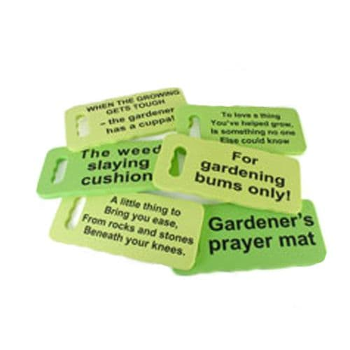 Green Garden Kneeling Cushions with Sayings