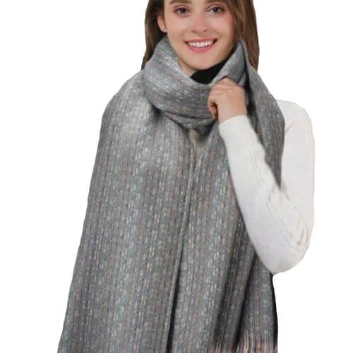 Grey Pattern Scarf with broken Coloured Stripes