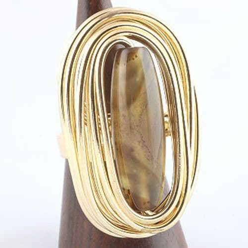 Handmade Twisted Wire Ring in a Gilt Tone with large Glass Bead