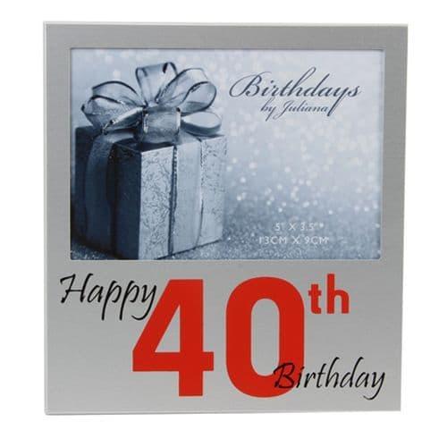 Happy 40th Birthday Frame, Birthdays by Juliana