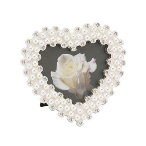 Heart Shape pearl & crystal photo frame