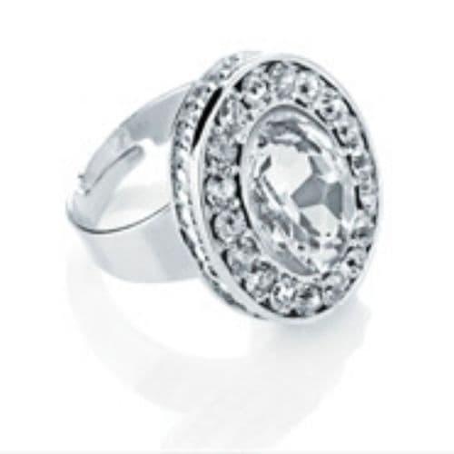 Ladies Rhodium Colour Crystal Oval Shape Adjustable Ring