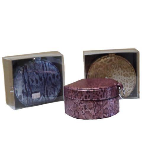 Ladies Round Shape Shimmer Jewellery box