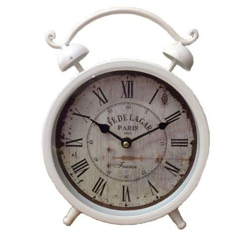 Large French Distressde Style Mantel Alarm Clock