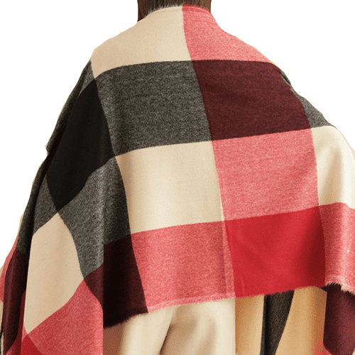 Large Plaid Design Colour Block Scarf in Red