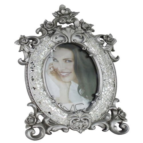 Large Silver Sparkle Mosaic Style Victorian Photo Frame