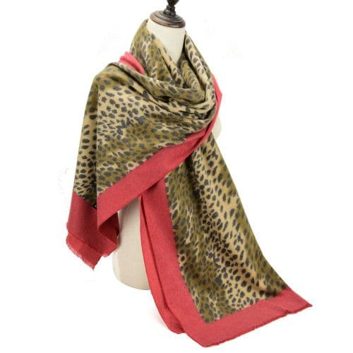 Leopard Print Cashmere Scarf edged in Red